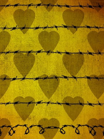 Barbed Wire on Hearts Wallpaper