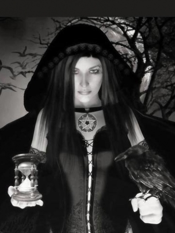 Black and White Wiccan Female Wallpaper