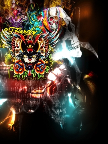 Colorful Ed Hardy with Skull Wallpaper