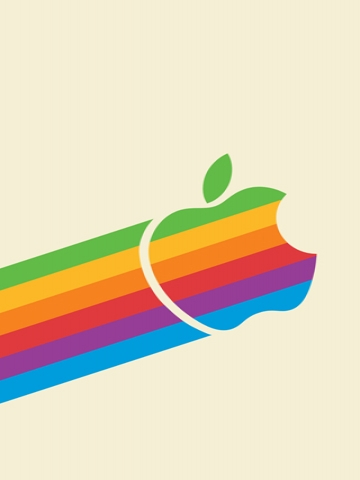 Flying Rainbow Apple Wallpaper