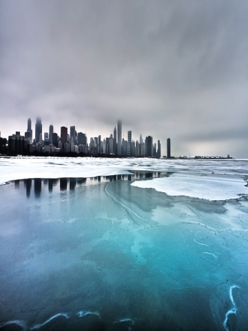 Frozen Lake Skyline Wallpaper