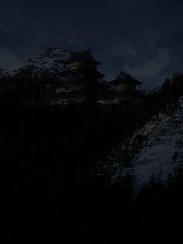Japanese House at Night Wallpaper