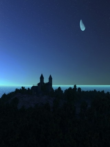 Moon over Castle Wallpaper
