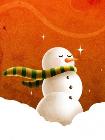 Orange Snowman Wallpaper