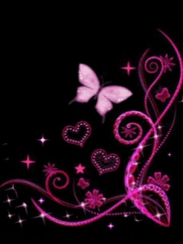 pink and black butterfly wallpaper