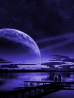 Purple Saturn over Lake