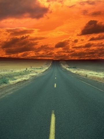 Road into Orange Sky Wallpaper