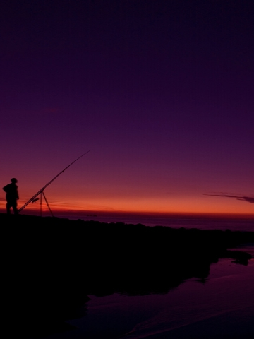 Sunset Fisherman Wallpaper