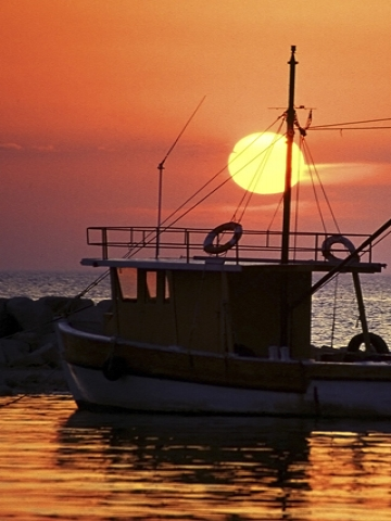 Sunset And Fishing Boat Wallpaper