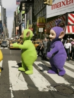 Teletubbies crossing the street