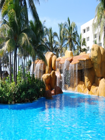 Tropical waterfall resort wallpaper iphone blackberry tropical waterfall resort wallpaper voltagebd Image collections