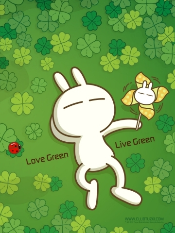 Tuzki Go Green Wallpaper