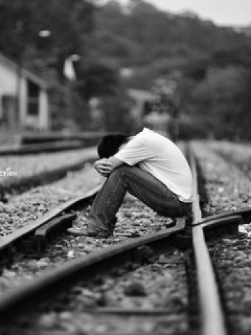 Love Hurt Boy Wallpaper : Upset on Railroad Tracks Wallpaper iPhone Blackberry