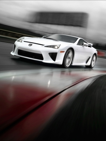 White Lexus on Track Wallpaper
