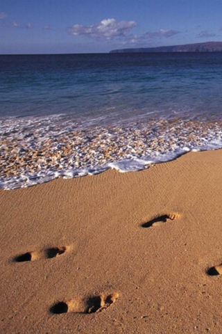 Footprints on Beach Wallpaper