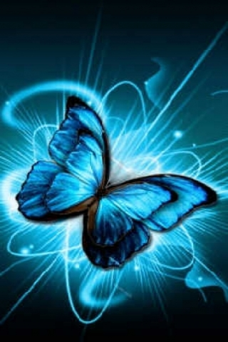 Glowing Blue Butterfly Wallpaper